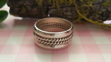 Beautiful Solid Ropes Tall Bold Band Ring Real Sterling Silver 925 *Size7 *5R