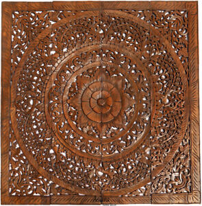 Details About Large Carving Wood Wall Art Asian Floral Wood Wall Decor Plaque Brown 48