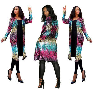 Jacket Womens Outwear Sequin Clubwear Sparkle Bling Top Transitional Coat Shinny xxSZUw