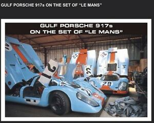 """Gulf Porsche 917's On The Set Of """"Le Mans"""" 1970 Car Poster! Own It!"""