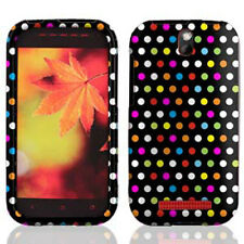 Cricket HTC ONE SV HARD Rubberized Protector Case Snap Phone Cover Rainbow Dots