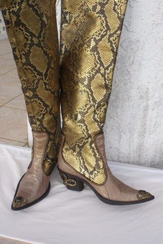 f76593733fa93 4 of 12 Giuseppe Zanotti knee high Women's gold Python Western Boots US ...