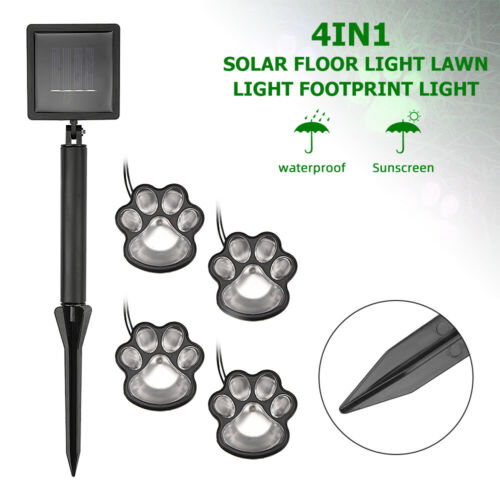 4 LED Solar Light Dog Animal Paw Print Lights Garden Statue Lantern Path Lamp UK