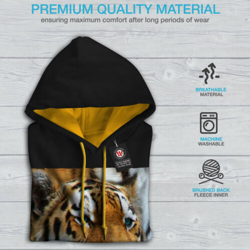 Magnificent Casual Jumper Wellcoda Tiger Photo Wild Mens Contrast Hoodie