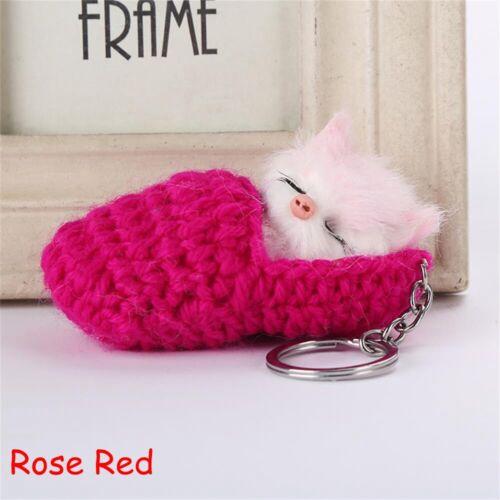 Lovely Fluffy Plush Jewelry Keychain Faux Rabbit Fur Key Buckle Cat Key Ring