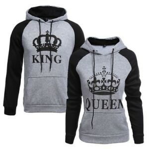 MODE-FEMMES-HOMMES-COUPLE-KING-QUEEN-PULL-a-capuche-sport-Couple-Pull-Gentil