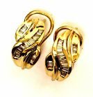 14k yellow gold .50ct VS G baguette diamond leverback hoop earrings 7.2g womens