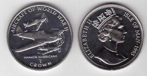 ISLE OF MAN - RARE 1 CROWN UNC COIN 1995 YEAR KM#502 HAWKER HURRICANE PLANE WWII