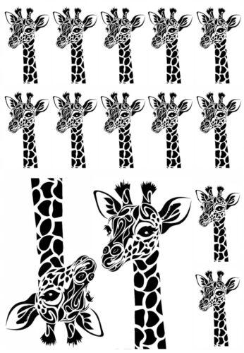 "Long Neck Giraffe Head 5/"" X 3-1//2/"" Card Black Fused Glass Decals 18CC983"