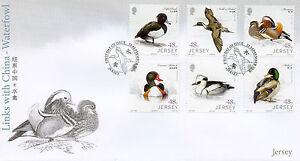 JERSEY-2016-FDC-collegamenti-con-la-Cina-Waterfowl-6v-Set-Coprire-Anatre-birds-stamps