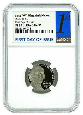 2020 W Jefferson Nickel NGC PF70 Ultra Cameo First Day Issue Label