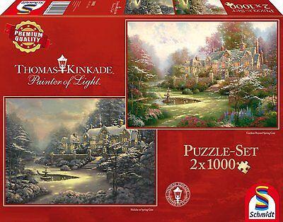 Thomas Kinkade - Sonnenuntergang / Winter in Riverbend - 2x1000 Teile Puzzle