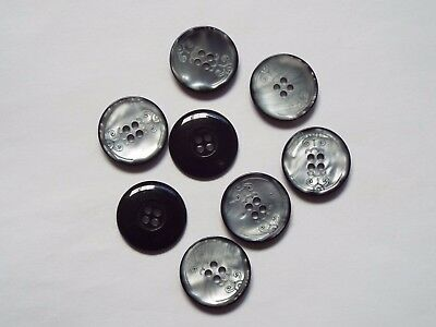 8pc 20mm Gloss Graphite Grey Mock Shell Coat Blazer Cardigan 4 Hole Button 1204