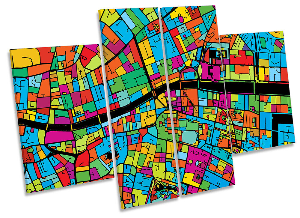 Dublin City Modern Map Picture CANVAS WALL ART Four Panel Multi-Colourot