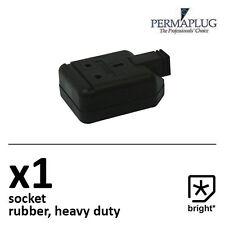 1 x 13 Amp Permaplug Rubber Socket 13A Heavy Duty Mains Electrical 3pin Black