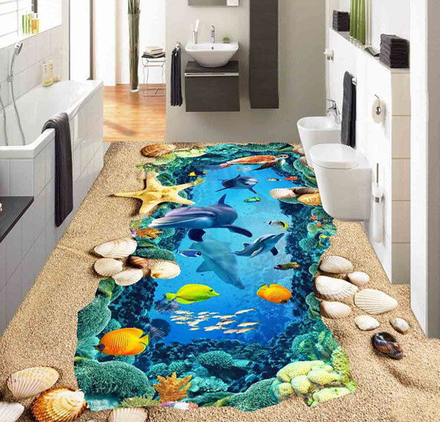 3D Deep Water Cave Dolphin Floor Mural Photo Flooring Wallpaper Home Wall Decal
