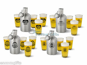 Personalized-STAINLESS-STEEL-GROWLER-64-oz-Beer-Whiskey-Jug-amp-4-pc-Glass-Set