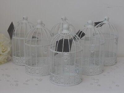 6 X Vintage Bianco Tondo Metallo Bird Cage Portacandele Wedding Tavolo Caratteristica Principale- Lustro Incantevole