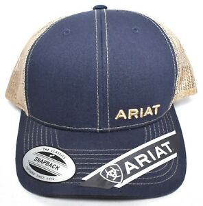 457ad6c7f6c ARIAT Text Offset Adjustable Mesh Snapback Hat Cap Navy   Tan One ...