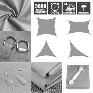 Sun-Shade-Sail-Outdoor-Patio-Top-Canopy-Cover-98-Anti-UV-Waterproof-Gray-US