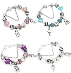 Girls-Charm-Bracelet-Love-Hearts-Key-Lock-Flower-Charms-Pink-Blue-Purple-Silver
