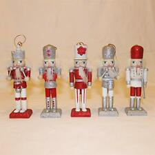Christmas Decoration 5 Pack Nutcracker Style Figurines - Red & Silver