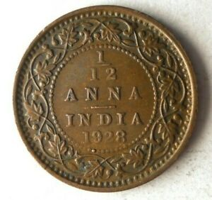 1928 BRITISH INDIA 1/12 ANNA - AU - Excellent Vintage Coin - Lot #A17