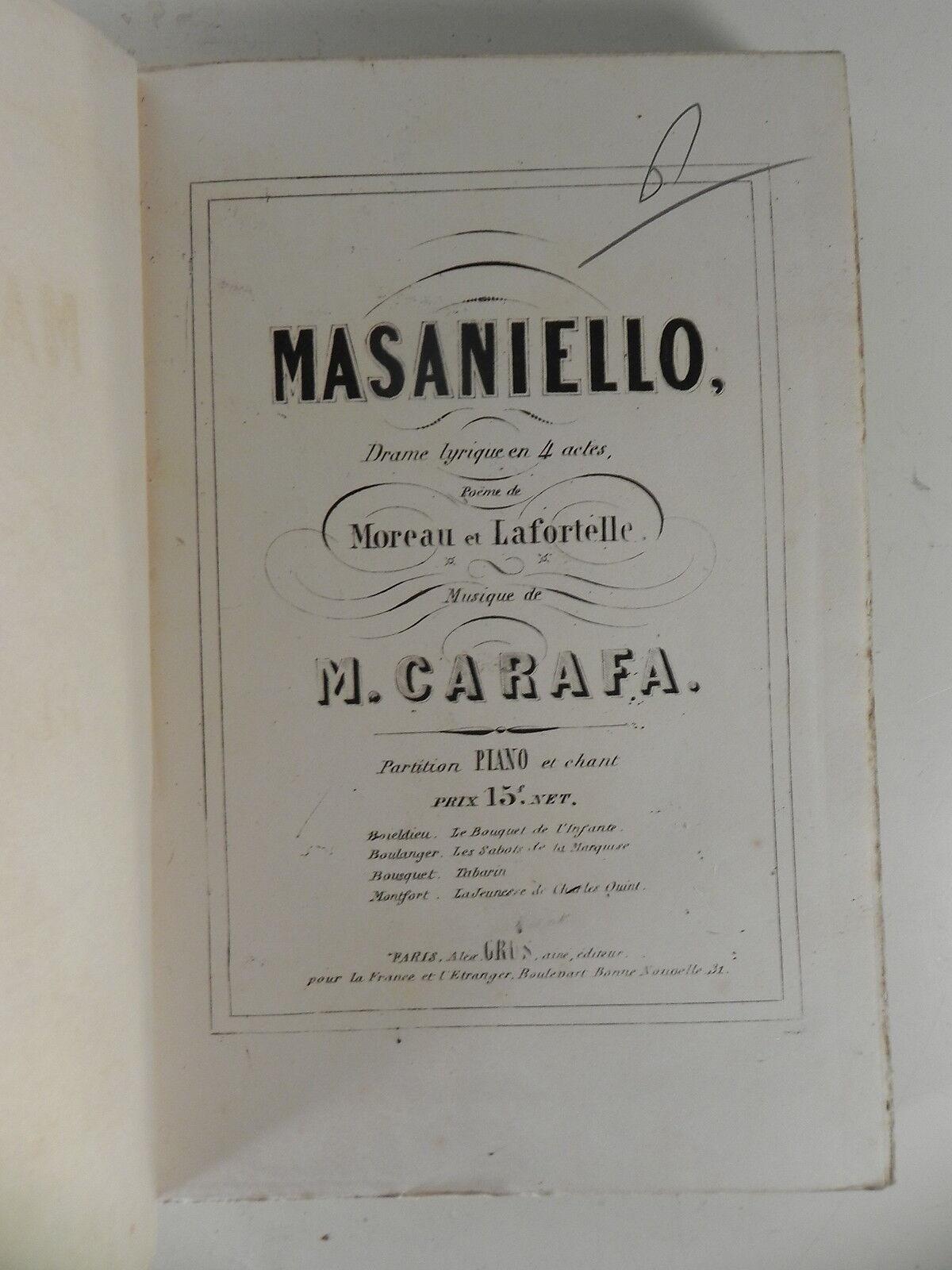 CARAFA M. MASANIELLO Drame Lyrique Grus 1845 Partition sheet music score