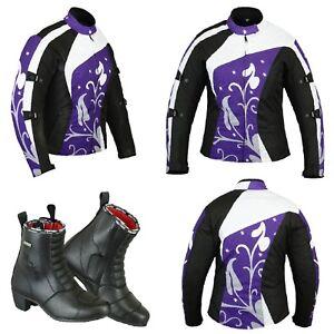 Ladies-Women-Motorcycle-Motorbike-Waterproof-Cordura-Jacket-Leather-Boot-Racing