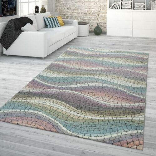 Wohnzimmer Teppich Bunt Pastellfarben Retro-Design Mosaik Muster Weich Kurzflor