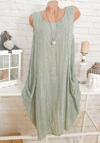 Italy Kleid Oversize Midi Sommer Strandkleid gestreift Streifen Khaki Weiß 44 46