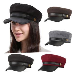 5615d994788 Classic Navy Sailor Cap Military Style Cotton PU Flat Top Hat Unisex ...