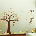 Forest Animals Monkey Owl Tree Removable Kids Wall Sticker Decal Nursery Decor