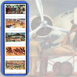 Details About 2019 Post Office Murals Strip Of 5 Forever Stamps In Cat Order 5372 76 5376a