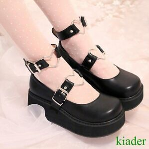 Janes Heels Womens Ankle Pumps Wedge Strappy Mary Creepers Med Lolita Platform v7qTT