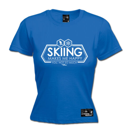 Ladies Skiing Skiing Makes Me Happy funny top Birthday For Him T SHIRT T-SHIRT