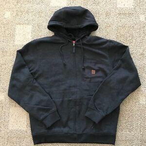 Coleman-Mens-Full-Zip-Fleece-Lined-Hoodie-Sweatshirt-Work-Jacket-Black-Size-XL