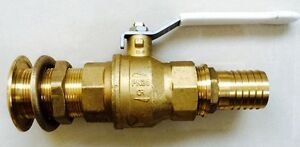 DZR Marine Grade Ball Valve, Skin Fitting & Hose Connector Assembly