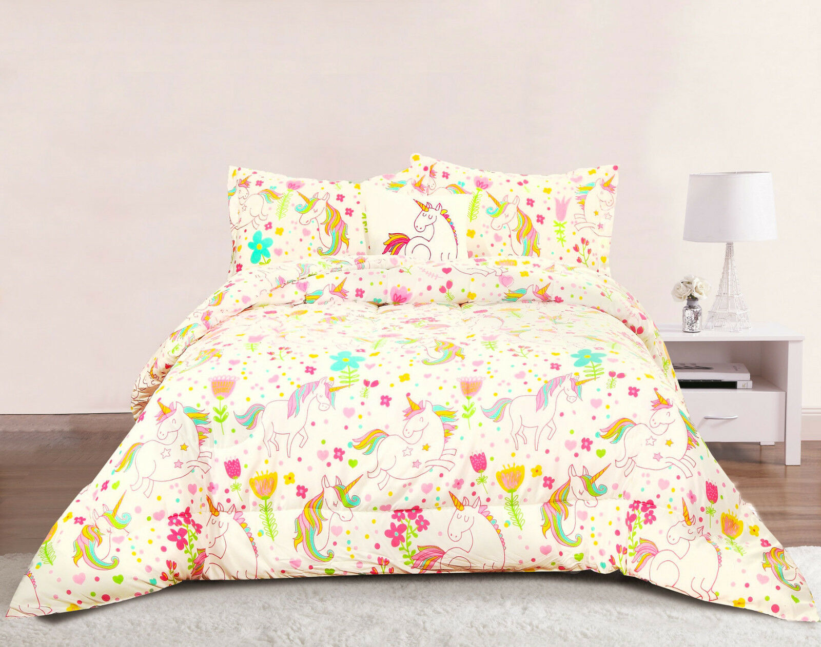 Unicorn Girls Bedding Twin 3 Piece Comforter Bed Set Pastel Heart Floral Polka For Sale Online Ebay