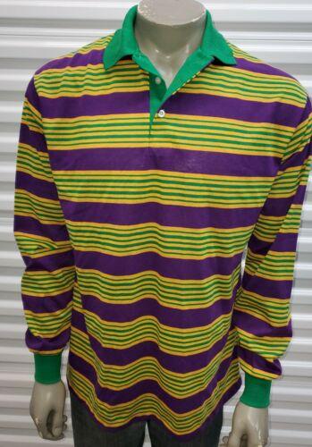 Vtg NOS 1980s Mardi Gras Color Block Rugby Polo Lo