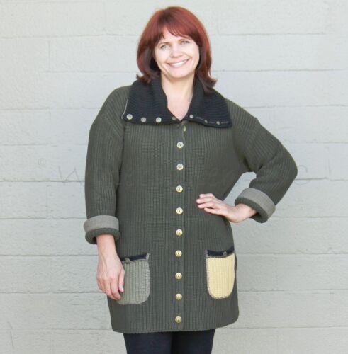 MARGARET WINTERS STD65 Cotton  BIG COLLAR CARDI  Pocket Sweater  OS  OLIVE MULTI