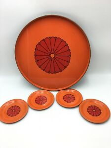Vintage-MCM-Serving-Tray-Platter-amp-4-Coasters-Japan-Mid-Century-Orange-Red-Black