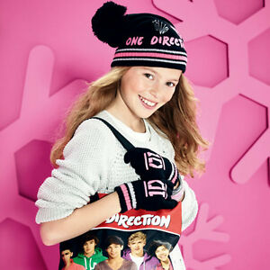 Ensemble-GANTS-BONNET-ONE-Direction-Noir-amp-rose-NEUF-directioner