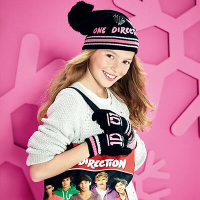 BONNET ONE Direction Noir /& rose NEUF directioner Ensemble GANTS