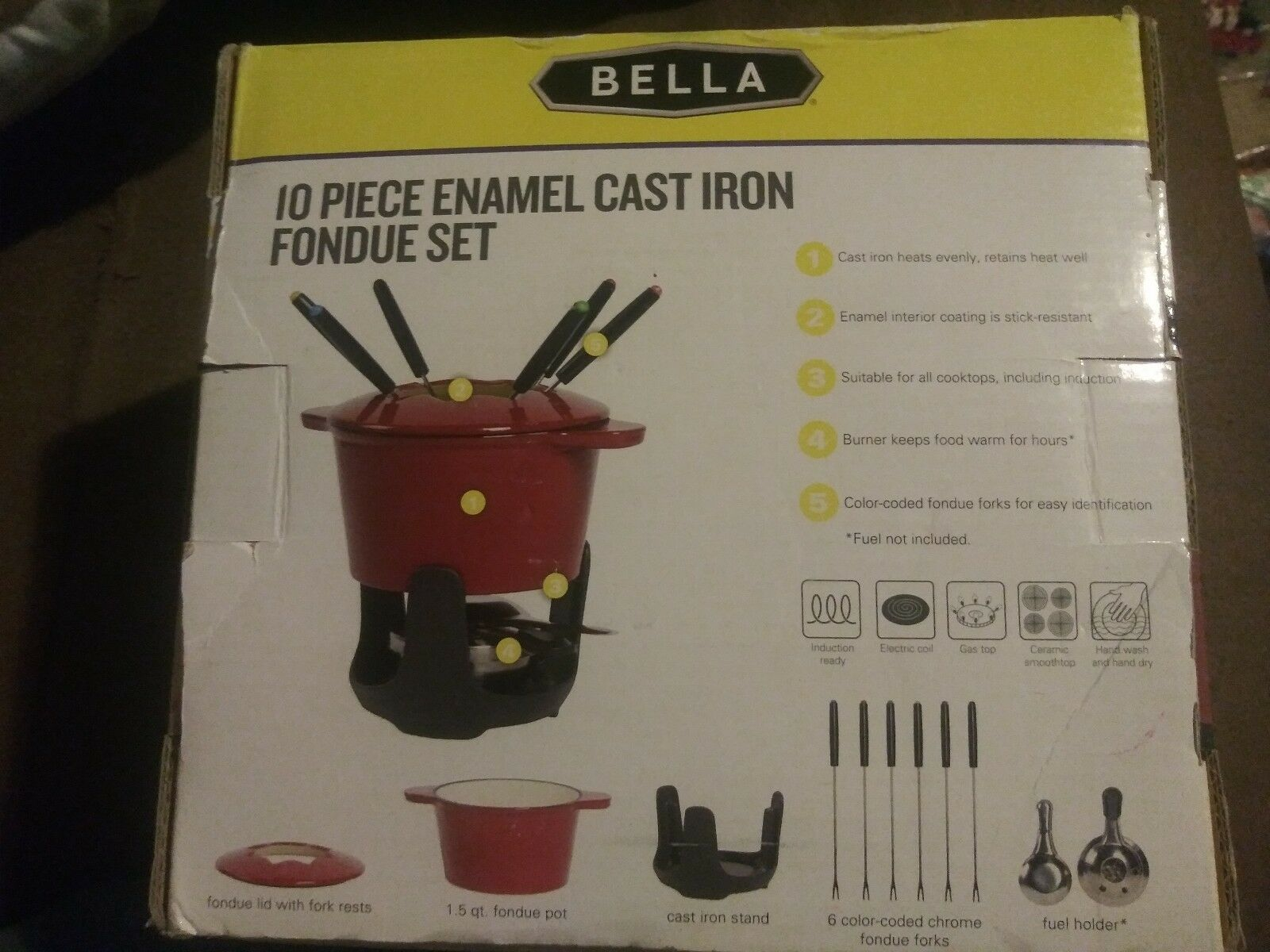 10 Pièce émail en fonte Rouge Ensemble à Fondue support couvercle pot forks & carburant titulaire NEW IN BOX