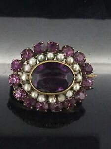 Antiguo-Broche-Pin-Purpura-Amatista-Pegar-Piedras-y-Perlas-de-metal-dorado-pequeno