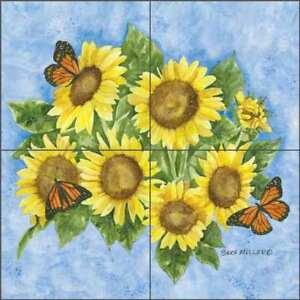 Sunflower-Tile-Backsplash-Mullen-Flower-Art-Ceramic-Mural-SM057