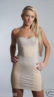 Motel Rocks Emma Womens Party Mini Bodycon Panel Dress Bandeau Grey Latte New