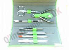 Nail Cuticle Pusher Cutter Clipper Nipper Manicure Pedicure 7 Piece Leather Kit
