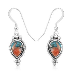 Santa-Fe-Style-925-Silver-Spiny-Turquoise-Drop-Dangle-Earrings-Southwest-Jewelry